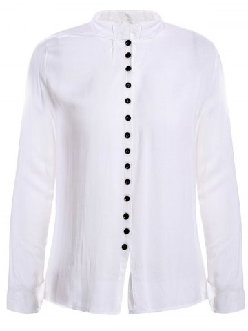 Casual Style V-Neck Long Sleeve Solid Color Single-Breasted Women's Blouse - White ONE SIZE