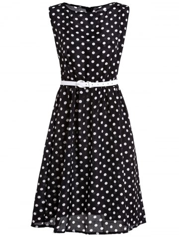 Outfits Attractive Polka Dot Printed Sleeveless Ball Gown Dress For Women