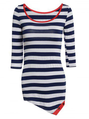 New Stylish Scoop Collar Long Sleeve Striped Asymmetrical Women's T-Shirt WATERMELON RED S