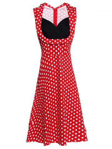Latest Sweetheart Neck Sleeveless Spliced Polka Dot Midi Dress RED S