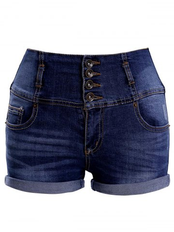 Affordable Fashionable High Waist Single Breasted Pocket Design Women's Shorts