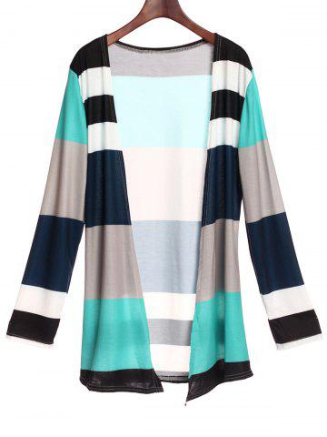 Casual Style Collarless Long Sleeve Colorful Stripe Women's Cardigan - Green - Xl