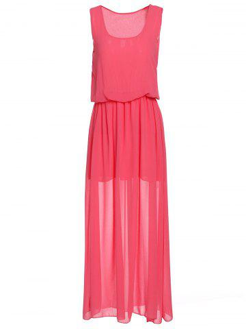 Buy Simple U Neck Sleeveless Pure Color Women's Maxi Dress