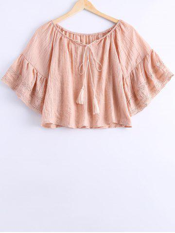 Trendy Simple Off The Shoulder Tassel Tie Short Sleeves Blouse For Women