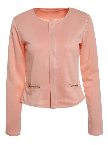 Trendy Casual Round Collar Long Sleeve Zippered Jacket For Women - S PINK Mobile