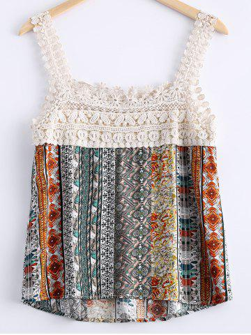 Fashion Stylish Lace Openwork Printing Tank Top For Women