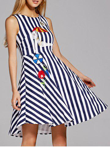 Sale Sleeveless Embroidered Stripe A Line Dress