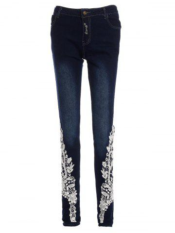Affordable Lace-Spliced Jeans For Women DEEP BLUE M