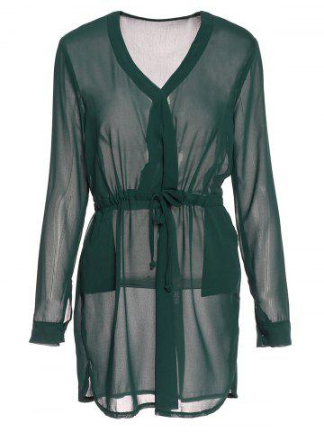 Cheap Graceful Plunging Neck Long Sleeve Solid Color Drawstring Women's Dress BLACKISH GREEN S