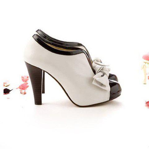 Sale Bowknot Color Block Ankle Boots - 35 OFF-WHITE Mobile