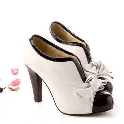 Chic Bowknot Color Block Ankle Boots - 36 OFF-WHITE Mobile