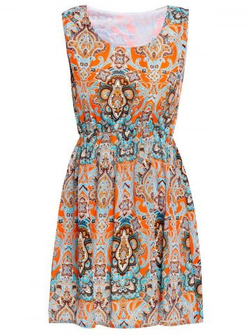 Store Casual Sleeveless Scoop Neck Ethnic Totem Print Women's Dress