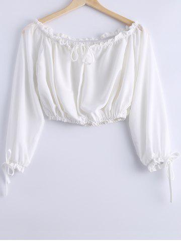 Trendy Stylish Off-The-Shoulder Tie Long Sleeves Crop Top For Women