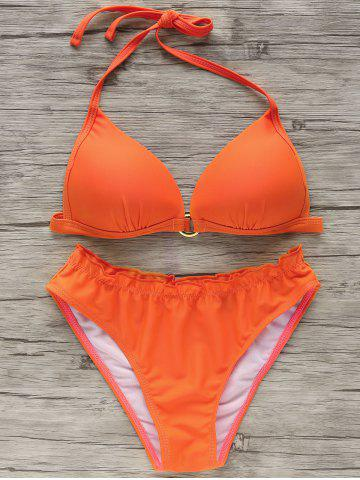 Affordable Refreshing Women's Halter Pure Color Bikini