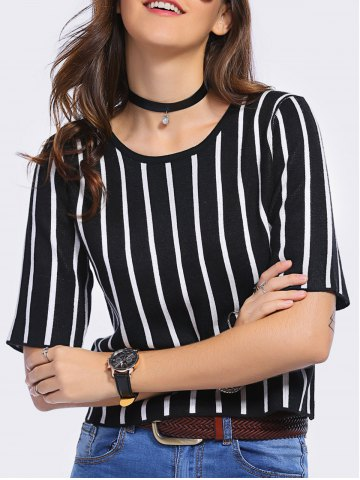 Buy Stylish Jewel Neck Striped 1/2 Sleeve T-Shirt Dress For Women