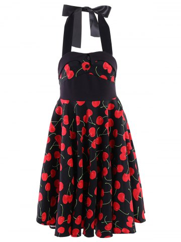 Best Vintage Halterneck Cherry Print A-Line Dress For Women