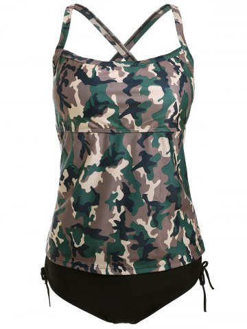 Affordable Cross Back Camo Tankini Swimsuit CAMOUFLAGE XL