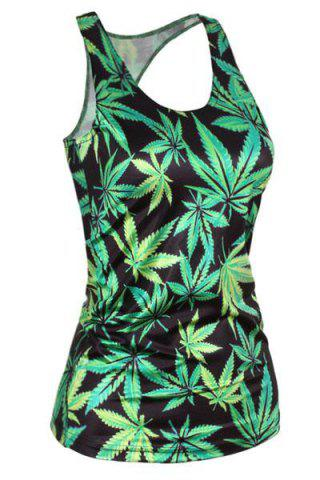 Chic Stylish Scoop Neck Leaf Print Tank Top For Women