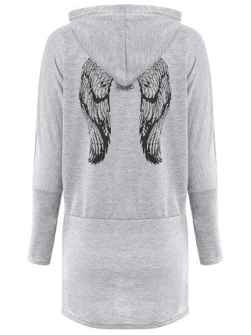 Shop Casual Scoop Neck Long Sleeve Wing Print Hoodie For Women - ONE SIZE(FIT SIZE XS TO M) GRAY Mobile
