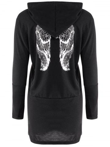 Sale Casual Scoop Neck Long Sleeve Wing Print Hoodie For Women - ONE SIZE(FIT SIZE XS TO M) BLACK Mobile