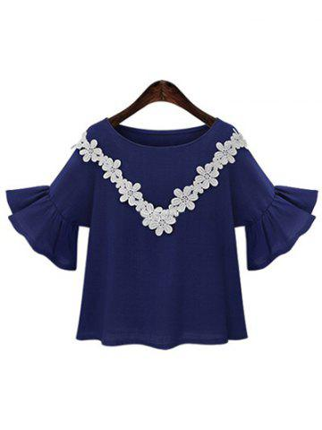 Unique Sweet Jewel Neck Trumpet Sleeve Applique T-Shirt For Women