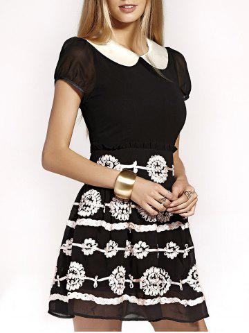 Buy Cute Peter Pan Collar Flower Design Puff Sleeve Mini Dress For Women