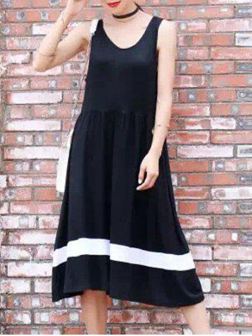 New A-Line Sleeveless Hit Color Dress