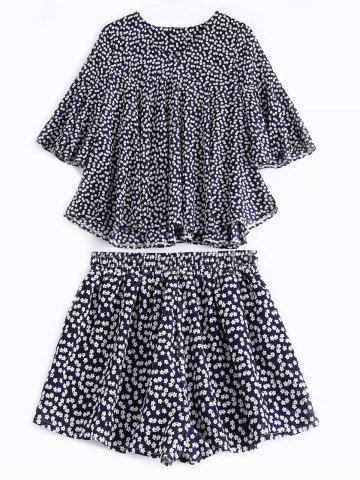 Trendy Casual Printing V-Neck Trumpet Sleeves Tops + Elastic Waist Shorts Twinset For Women