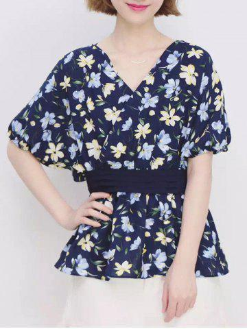 Chic Refreshing V Neck Beam Waist Floral Top For Women