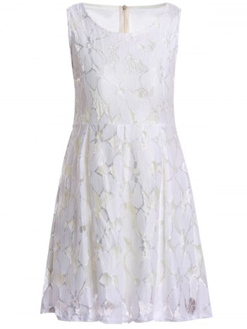 Ladylike Style Round Collar Sleeveless Jacquard Solid Color Lace Pleated Women's Dress - WHITE S
