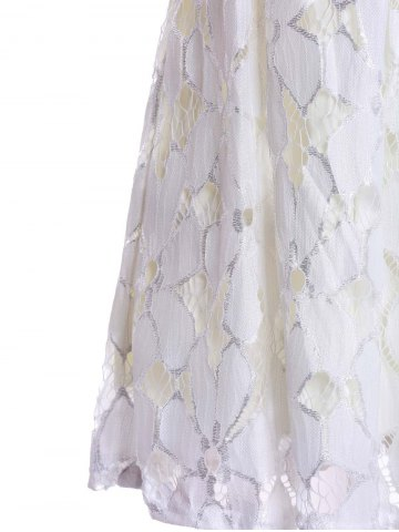 Store Jacquard Pleated Sleeveless Lace Dress - S WHITE Mobile