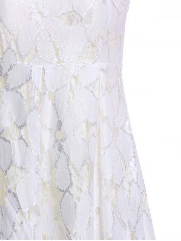 Fancy Jacquard Pleated Sleeveless Lace Dress - S WHITE Mobile