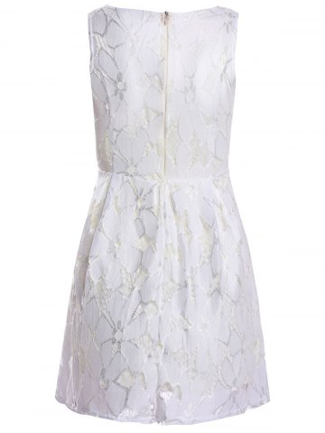 Online Jacquard Pleated Sleeveless Lace Dress - L WHITE Mobile