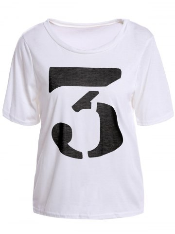 Buy Color Block Retro Style Scoop Neck Figure Print Short Sleeve Women's T-Shirt - White ONE SIZE