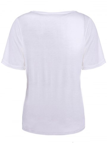 Affordable Color Block Retro Style Scoop Neck Figure Print Short Sleeve Women's T-Shirt - ONE SIZE WHITE Mobile
