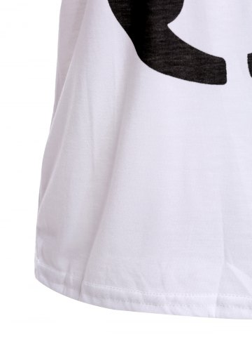 Store Color Block Retro Style Scoop Neck Figure Print Short Sleeve Women's T-Shirt - ONE SIZE WHITE Mobile