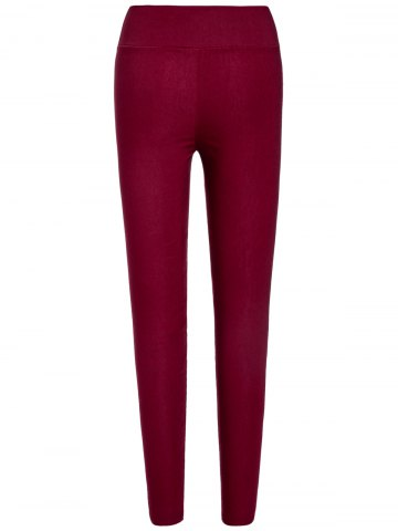 Buy Stylish Elastic Solid Color Slimming Women's Pencil Pants - ONE SIZE WINE RED Mobile