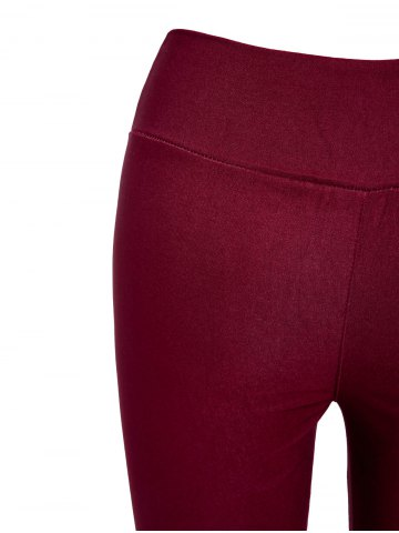 Fashion Stylish Elastic Solid Color Slimming Women's Pencil Pants - ONE SIZE WINE RED Mobile