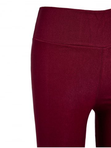 Hot Stylish Elastic Solid Color Slimming Women's Pencil Pants - ONE SIZE WINE RED Mobile