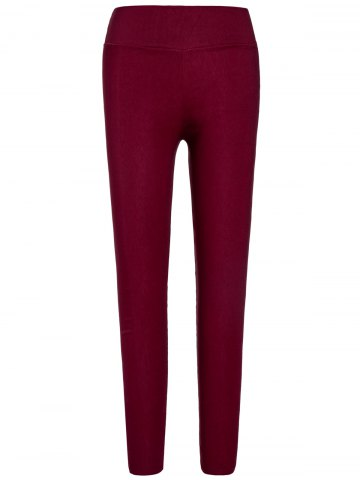 Trendy Stylish Elastic Solid Color Slimming Women's Pencil Pants