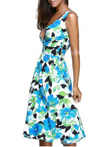 Affordable Sweet Sleeveless Surplice Floral Print Women's Dress