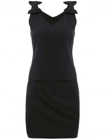 Chic Stylish V-Neck Solid Color Tie Sleeveless Top and Midi Skirt Set For Women
