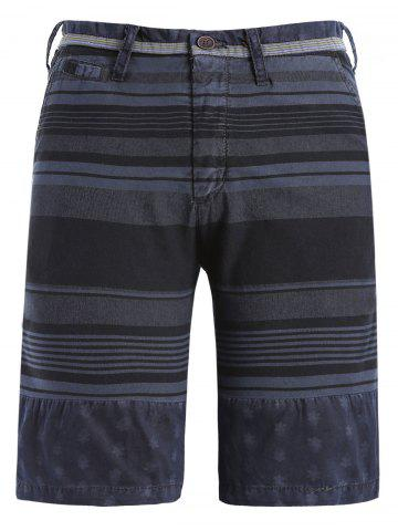 New Zipper Fly Stripe and Geometric Print Spliced Straight Leg Shorts For Men CADETBLUE 3XL
