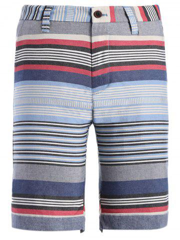 Shops Zipper Fly Color Block Striped Print Spliced Straight Leg Shorts For Men