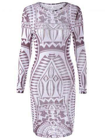 Chic Fashionable Printing Long Sleeves Dress For Women CHOCOLATE L