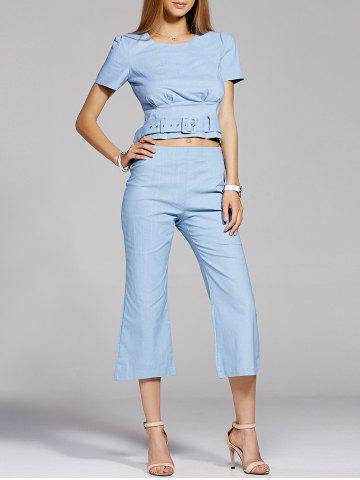Sale Elegant Belt Tie Top and Flare Cropped Pants Women's Twinset