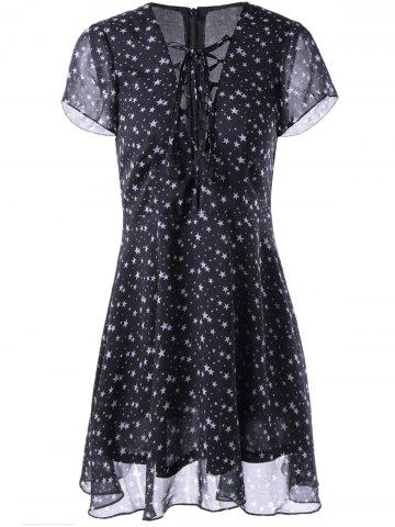 Trendy Fashionable V-Neck Cut-Out Chalaza Star Dress For Woman WHITE/BLACK L