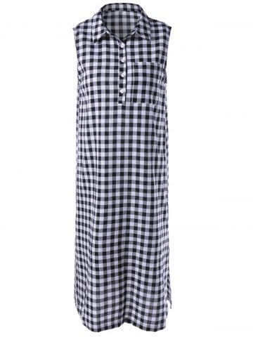Buy Fashionable Lattice Shirt Dress For Woman - L WHITE AND BLACK Mobile