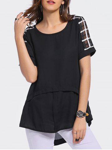 Discount Stylish Scoop Neck Short Sleeve Plaid Asymmetric Blouse For Women