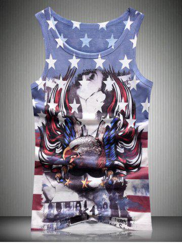 Best Round Neck Star and Stripe Eagle 3D Print Tank Top For Men